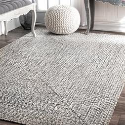 nuLOOM HJFV01C Braided Lefebvre Outdoor Rug, 5' x 8', Salt a
