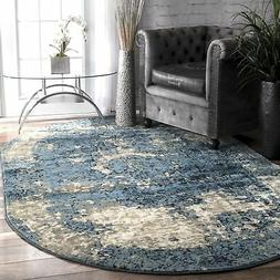 nuLOOM Traditional Distressed Foggy Medallion Blue Area Rugs