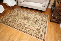 Traditional Floral Ivory Wool Area Rug 5'2x7'6