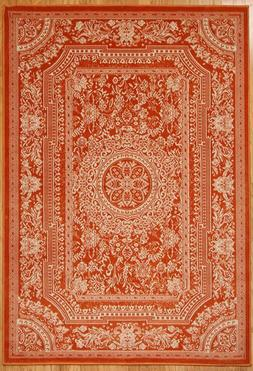 Traditional French Floral Wool Orange Area Rug 2x3'4
