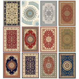 Traditional Oriental Area Rug Carpet Crystal Velvet Medallio