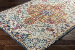 Traditional Oriental Distressed Blue Area Rug **FREE SHIPPIN