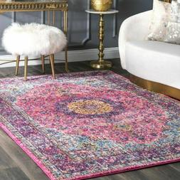 nuLOOM Traditional Oriental Distressed Area Rug in Pink | 4.
