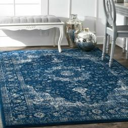 nuLOOM Traditional Oriental Distressed Area Rug in Dark Blue