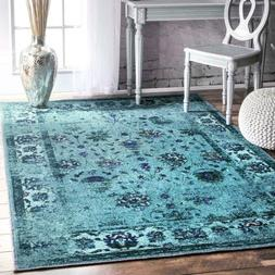 nuLOOM Traditional Overdyed Vintage Floral Area Rug in Turqu