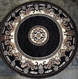 Traditional Round Persian Area Rug Black & BrownDesign C314