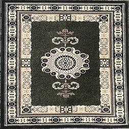 Americana Traditional Square Area Rug Sage Green Design #121