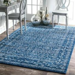 nuLOOM Traditional Vintage Bordered Floral Area Rug in Blue