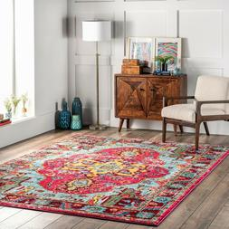 nuLOOM Traditional Vintage Distressed Area Rug in Multi Pink