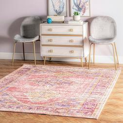 nuLOOM Traditional Vintage Distressed Jenice Area Rug in Pin