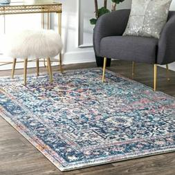 nuLOOM Traditional Vintage Floral Star Area Rug in Blue, Pin