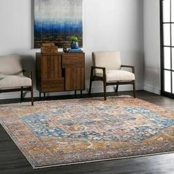 nuLOOM Traditional Vintage Medallion Fringe Area Rug in Rust