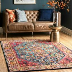 traditional vintage vibrant area rug in red