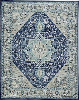 Nourison Tranquil 8' X 10' Ivory And Navy Area Rugs 09944648