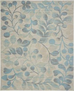 Nourison Tranquil 8' X 10' Ivory And Turquoise Area Rugs 099