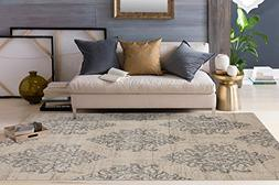 "Transitional Damask Soft Gray 5'3"" x 7'3"" Area Rug"