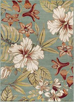 Universal Rugs Tracy Transitional Floral Seafoam Rectangle A