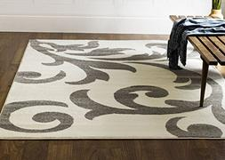 Transitional Floral Rug 3x5, Ivory & Gray Contemporary Damas