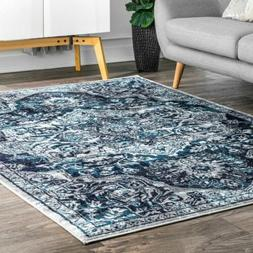 nuLOOM Transitional Medallion Maryanne Area Rug in Blue