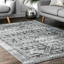 transitional moroccan geometric area rug in grey