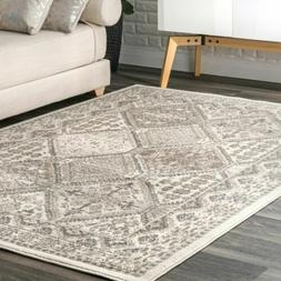 nuLOOM Transitional Vintage Geometric Tiles Area Rug in Beig