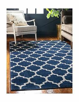 Unique Loom Trellis Collection Moroccan Lattice Dark Blue Ar