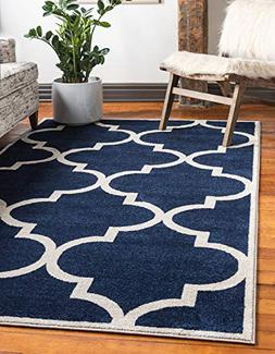 Unique Loom Trellis Collection Moroccan Lattice Navy Blue Ar