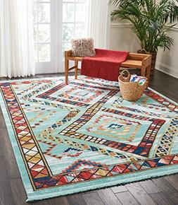 Nourison Tribal Decor TRL02 Traditional Colorful Aqua Area R