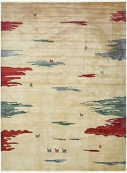 Tribe Collection Cream Modern Area Rug Abstract Desert Desig