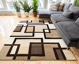 Uptown Squares Ivory & Brown Modern Geometric Comfy Casual H