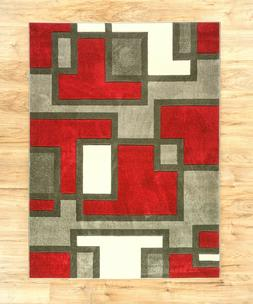 Uptown Squares Red & Grey Modern Geometric Comfy Casual Hand