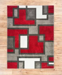 Uptown Squares Red & Grey Modern Geometric Area Rug