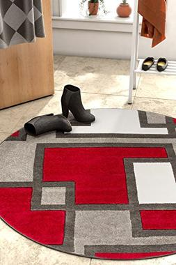 Uptown Squares Red Grey Modern Geometric Comfy Casual Hand C