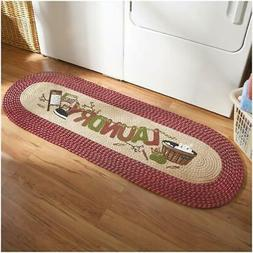 Vintage Country Laundry Room Decorative Braided Runner rug h