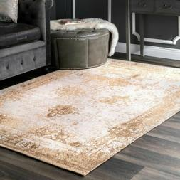 nuLOOM Vintage Faded Abstract Cotton Blend Area Rug in Sand