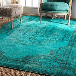 Vintage Inspired Fancy Medallion Overdyed Runner Area Rug