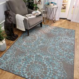 Washable Area Rug Runner Mat Gray Blue Medallion Soft Cut Pi