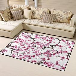 Naanle Watercolor Japanese Sakura Flowers Non Slip Area Rug
