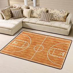 wooden basketball court area rug