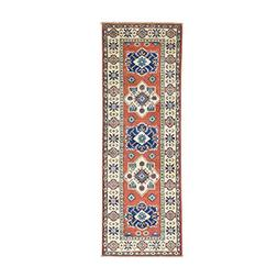 Pure Wool Geometric Design Red Kazak Hand-Knotted Runner Rug
