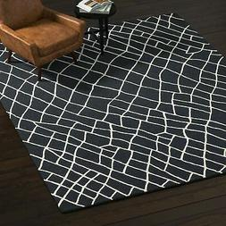 Rivet Wool Rug, 8' x 10', Black, White 8' x 10' New