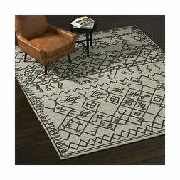Rivet Wool Rug, 8' x 10', Gray, Charcoal 8' x 10'