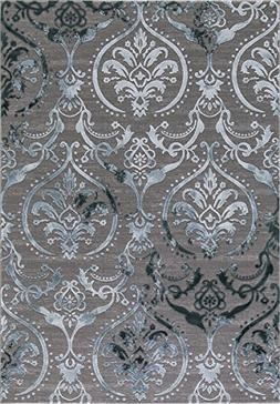 Wow Home Concord Global Thema Large Damask Teal - Gray Area