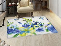 smallbeefly Yellow and Blue Door Mats Area Rug Spring Flower