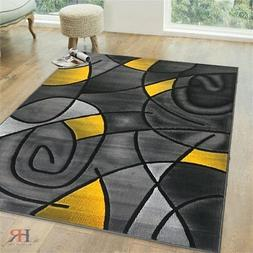 Yellow/Grey/Silver/Black/Abstract Area Rug Modern Contempora