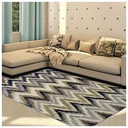 Superior Zigzag Collection Area Rug, 8mm Pile Height with Ju
